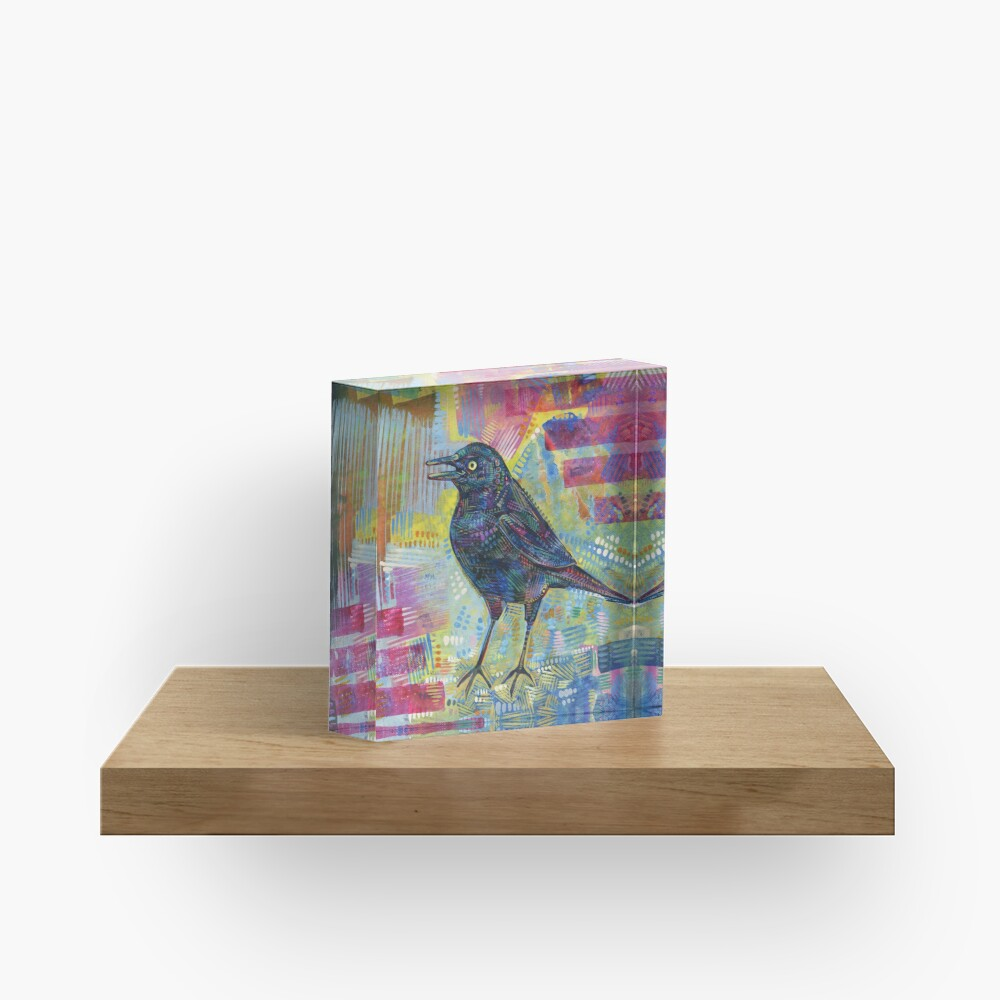 Rusty Blackbird Painting - 2016 Acrylic Block