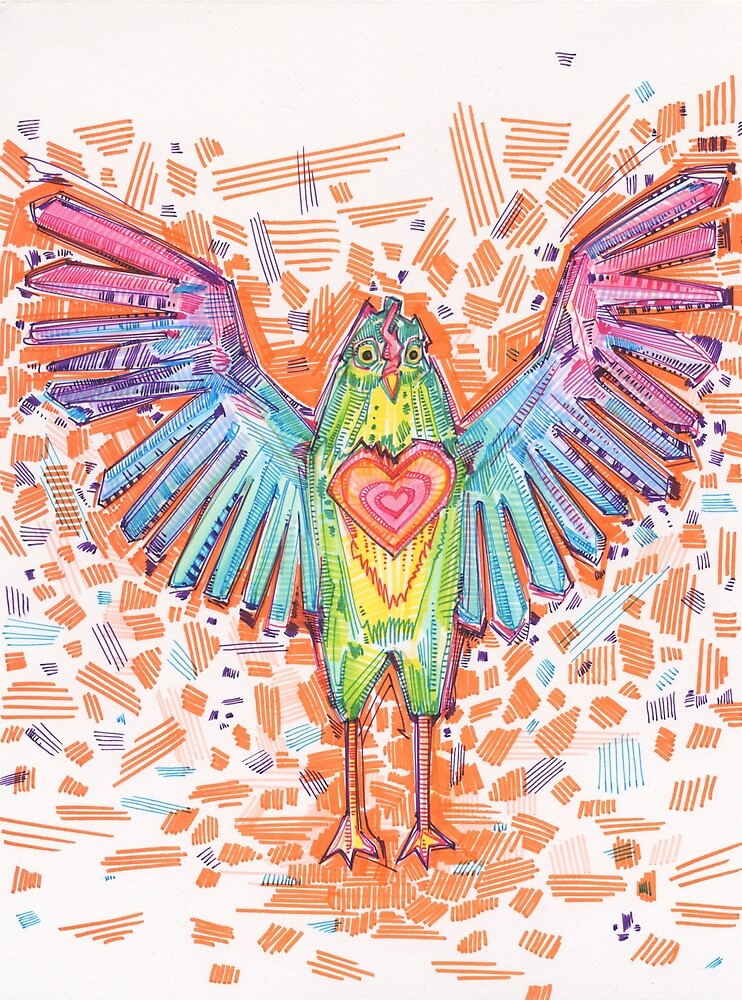 Chicken-hearted Drawing - 2016 by Gwenn Seemel