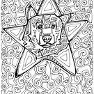 Star bear, coloring book image by Gwenn Seemel