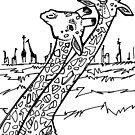 Giraffe, coloring book image by Gwenn Seemel