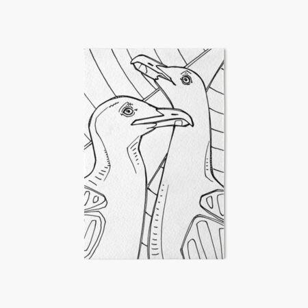 Western Gull, Coloring Book Image Art Board Print