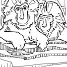 Japanese macaque, coloring book page by Gwenn Seemel