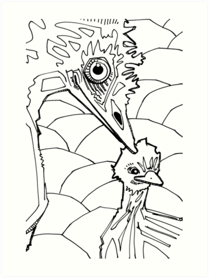 Láminas artísticas «Emu, página de libro para colorear» de Gwenn ...