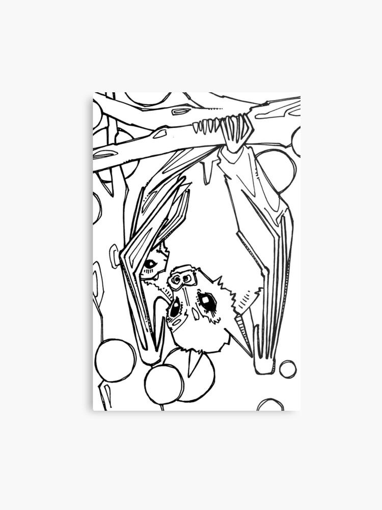 Dayak Fruit Bat Coloring Book Page Metal Print