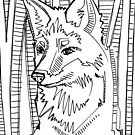 Red fox, coloring book page by Gwenn Seemel