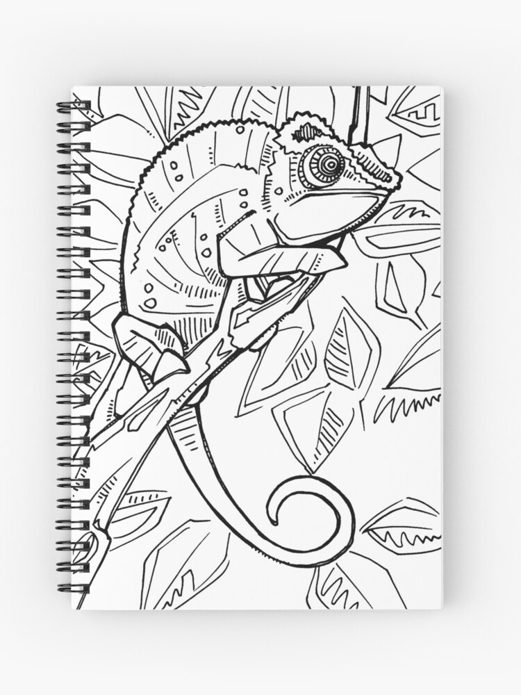 Panther chameleon, coloring book page\
