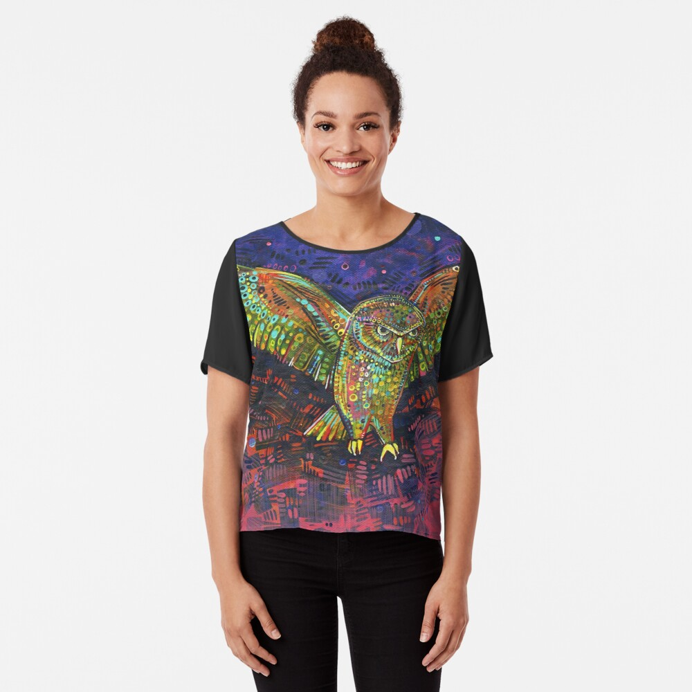 Owl painting - 2015 Chiffon Top