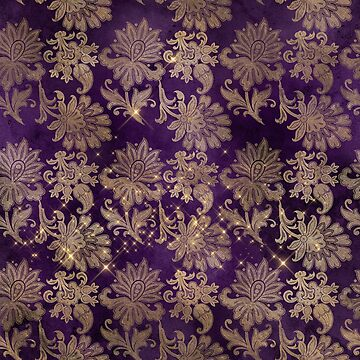 Floral Wizardry Pattern with Gold Purple Flowers by 4Craig