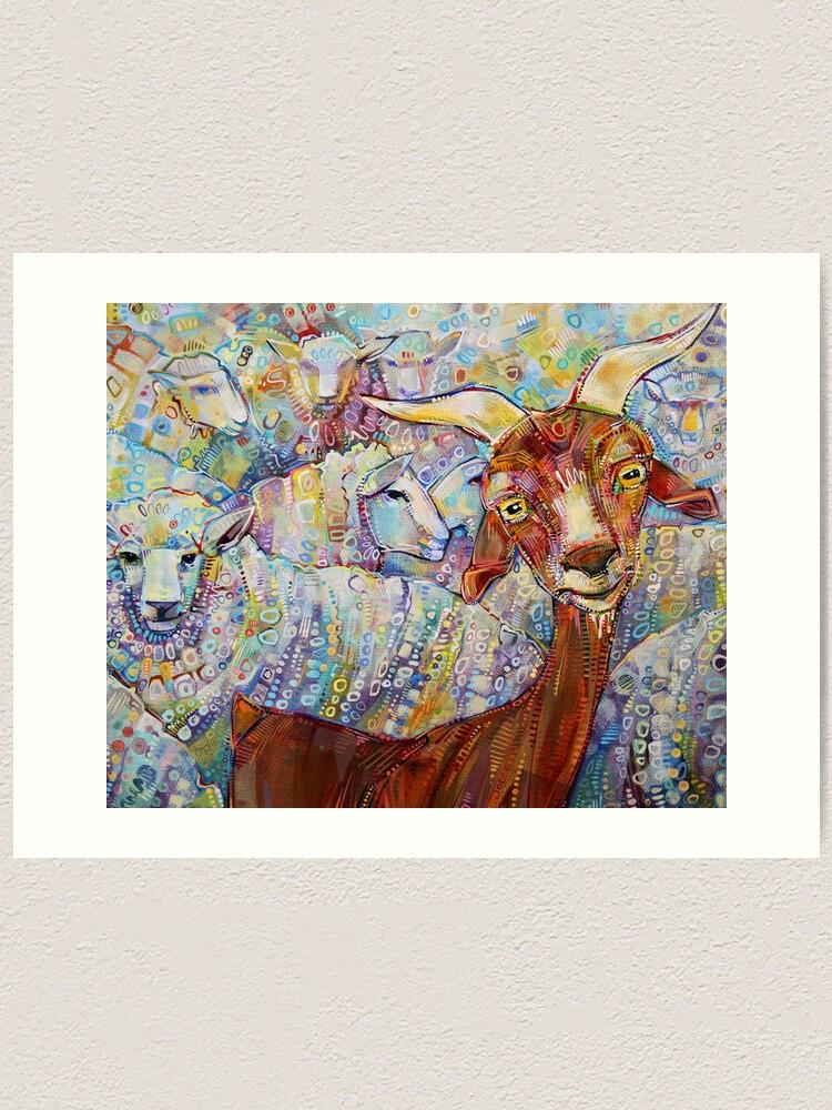 Alternate view of Goat/sheep painting - 2014 Art Print