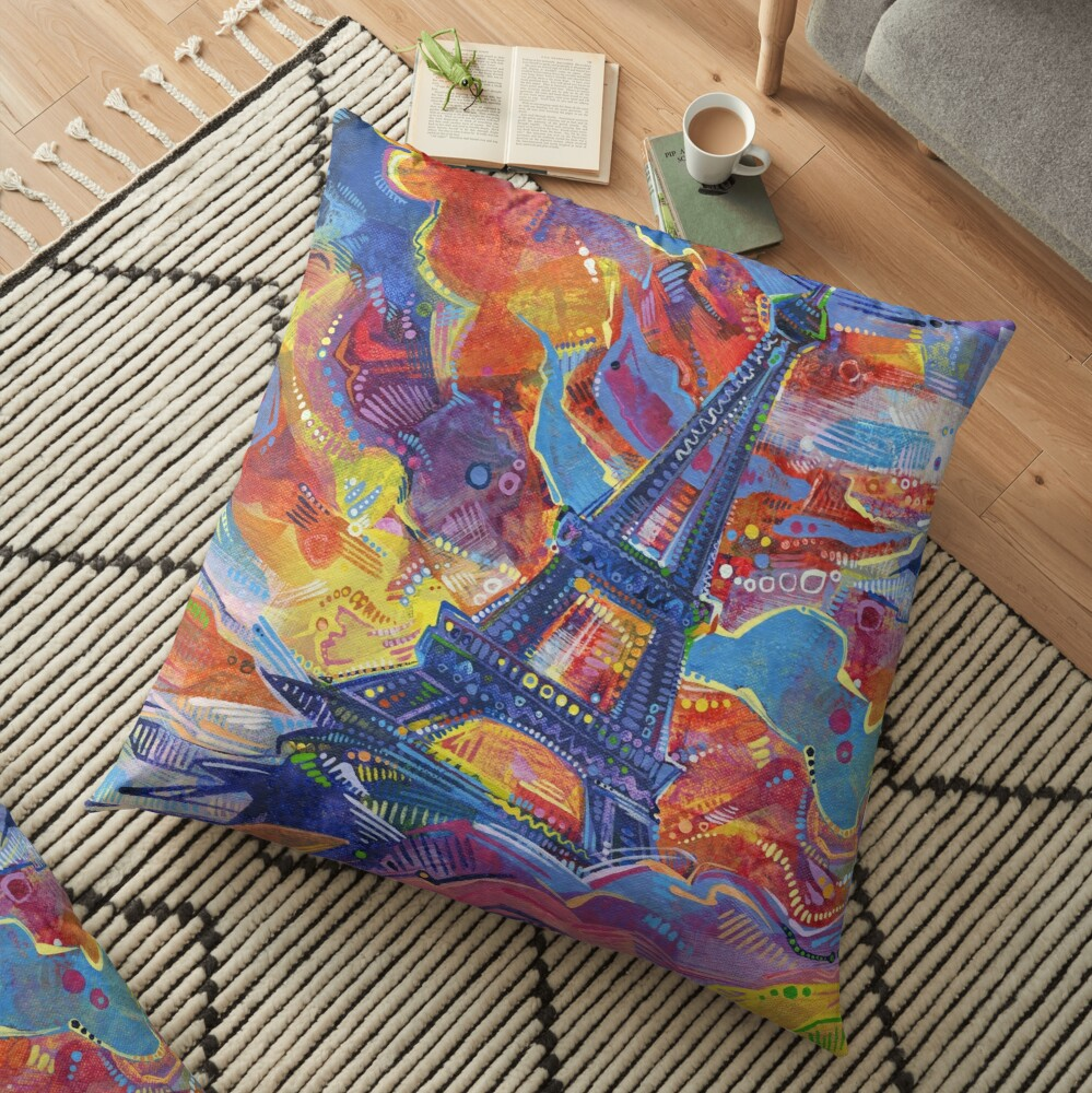 Eiffel's tower painting - 2014 Floor Pillow