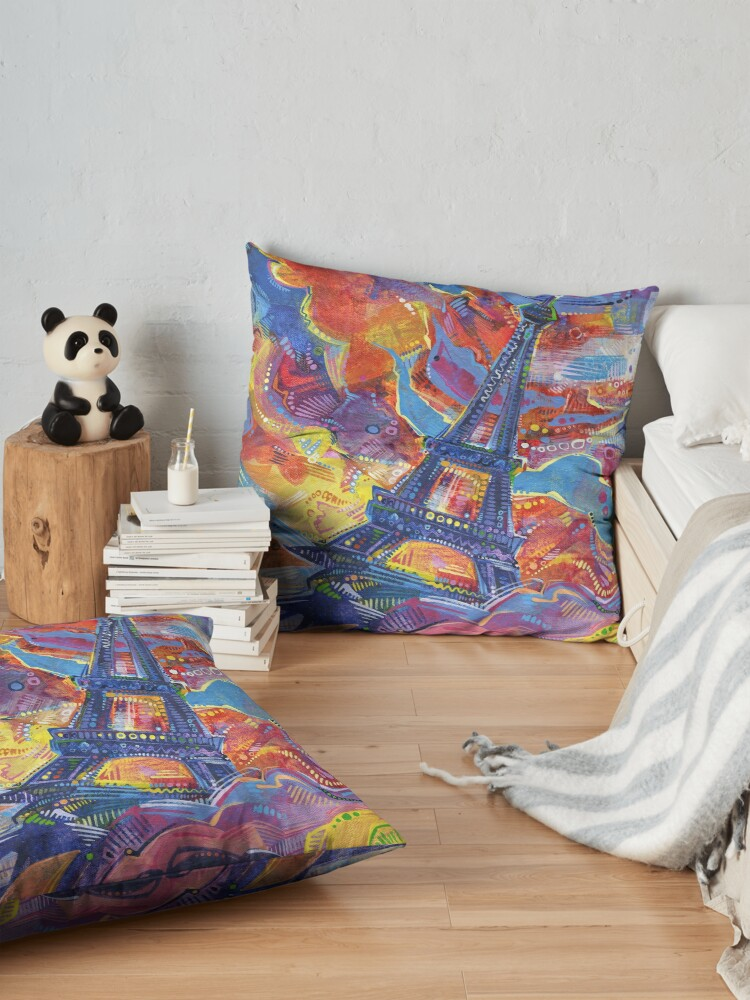 Alternate view of Eiffel's tower painting - 2014 Floor Pillow