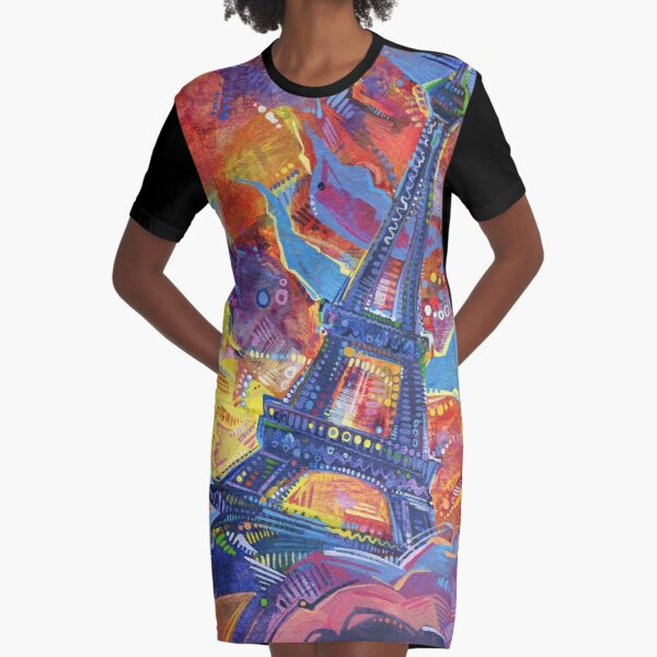 Eiffel's Tower Painting - 2014 Graphic T-Shirt Dress