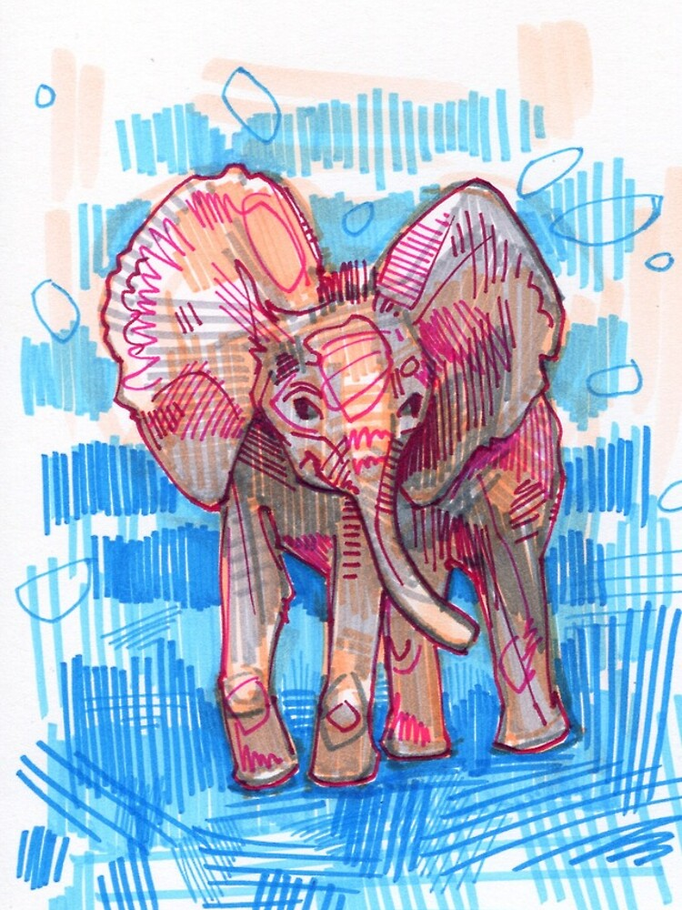 Elephant baby drawing - 2011 by gwennpaints