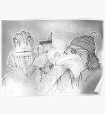 Three Gentlemen, pencil sketch Poster