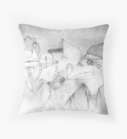 Three Gentlemen, pencil sketch Throw Pillow