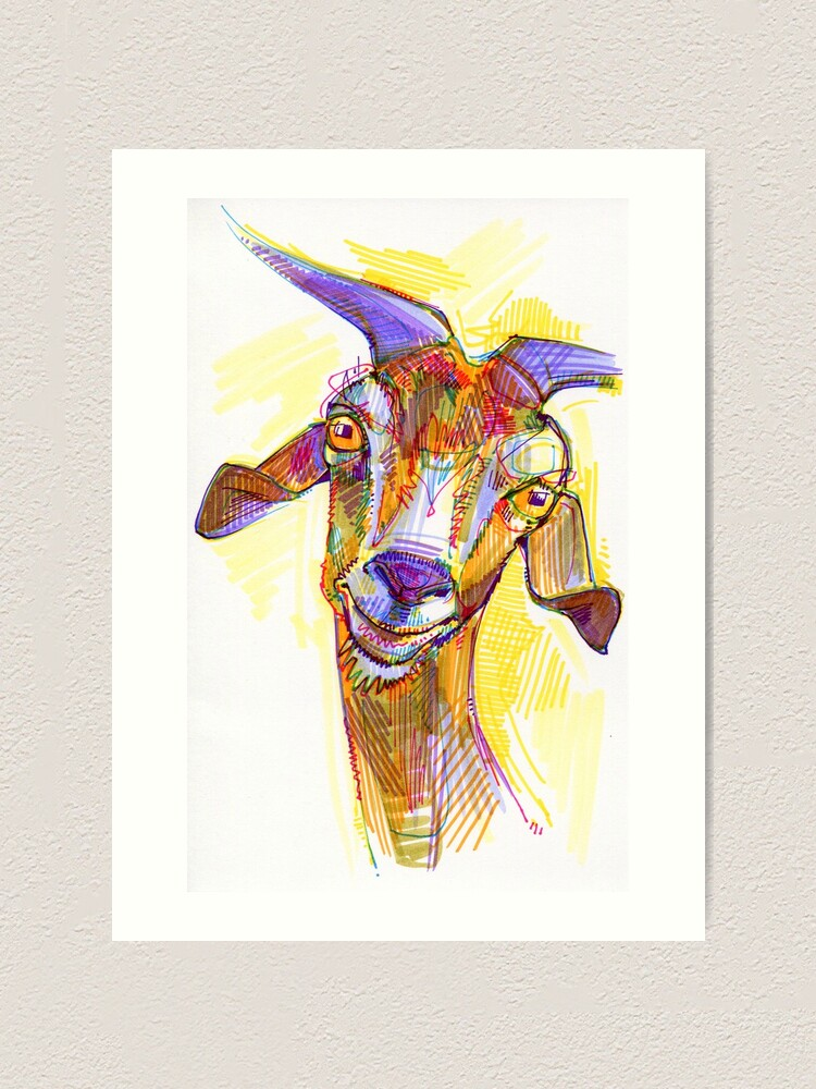 Alternate view of Goat drawing - 2011 Art Print