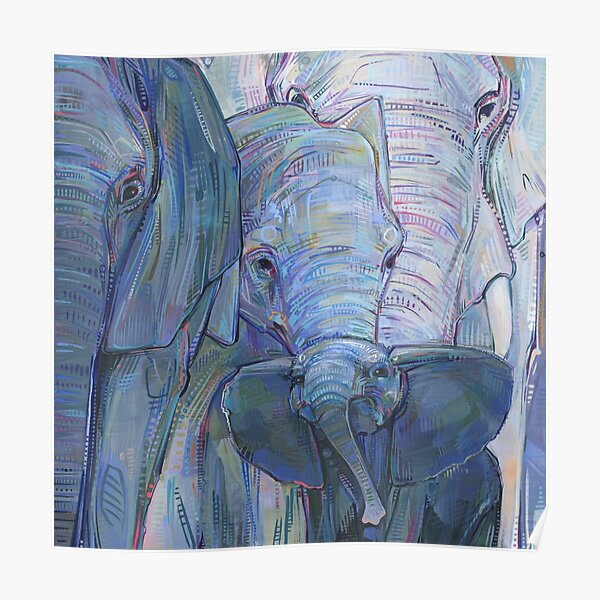 African Elephants Painting - 2012 Poster