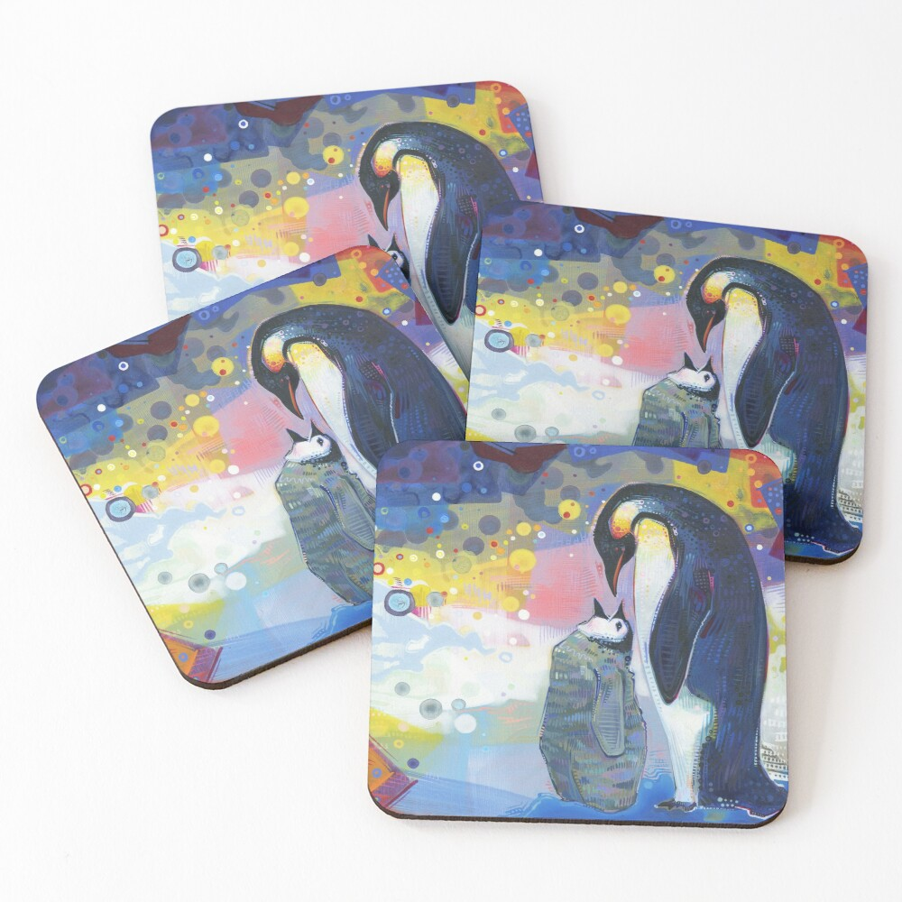Emperor Penguin Baby and Parent Painting - 2012 Coasters (Set of 4)