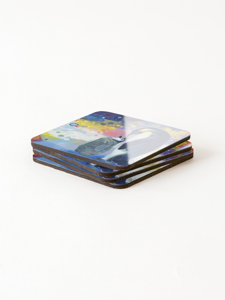 Alternate view of Emperor Penguin Baby and Parent Painting - 2012 Coasters (Set of 4)