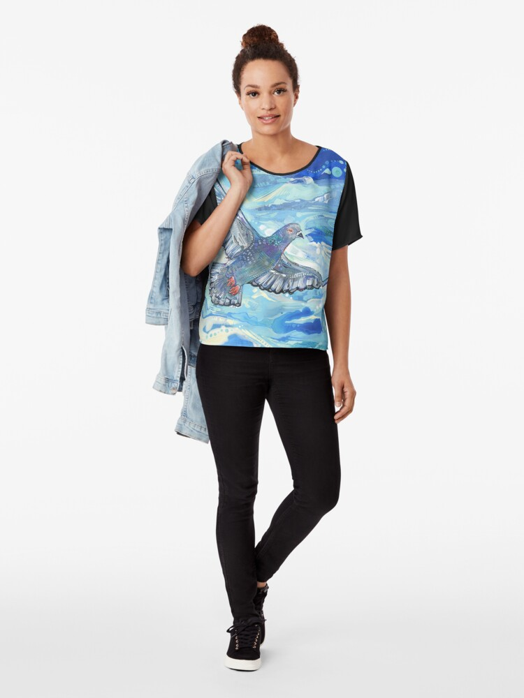 Alternate view of Rock pigeon painting - 2012 Chiffon Top