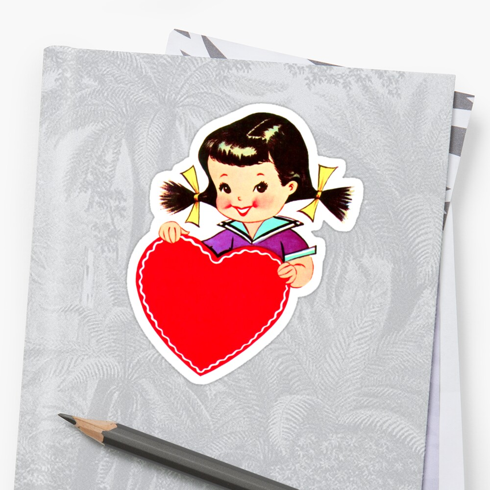 Little Girl with Pigtails and Valentine by SherDigiScraps