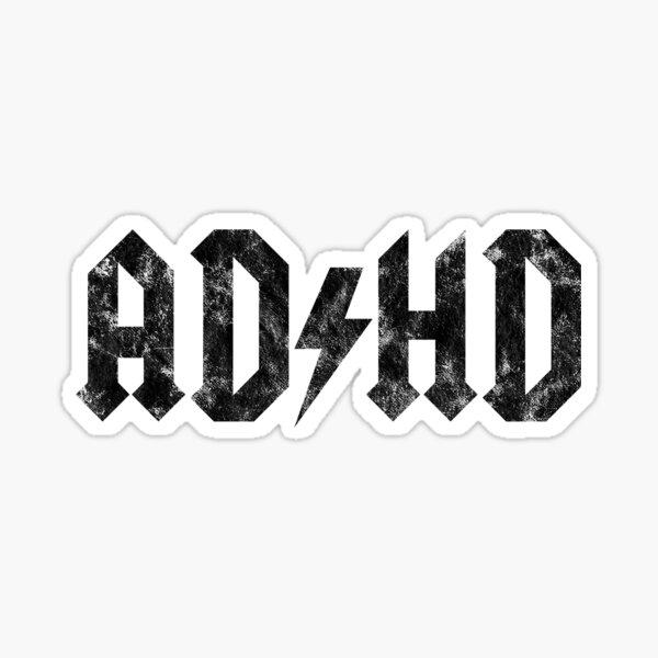 ADHD estilo AC / DC - Edición blanca desgastada Pegatina