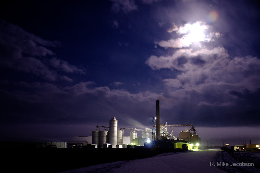 Feed Mill By Full Moon by R. Mike Jacobson