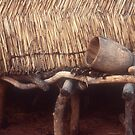 Grain shed, mortar and pestle, Niger, West Africa by Valarie Napawanetz