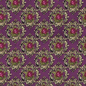 Vintage Purple Pink Framed Rose Pattern by 4Craig