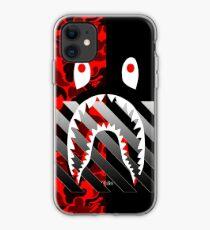 Vinilo o funda para iPhone Tira de tiburon negro rojo