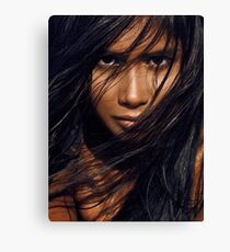 Young exotic woman with long black hair art photo print Canvas Print