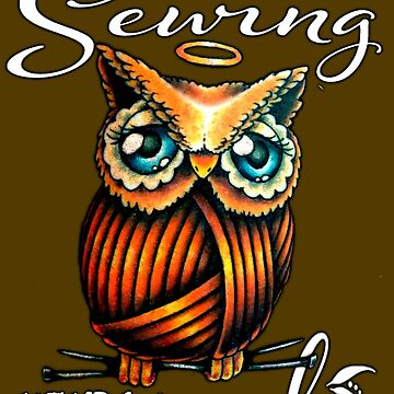 Owl and Sewing by kaderb