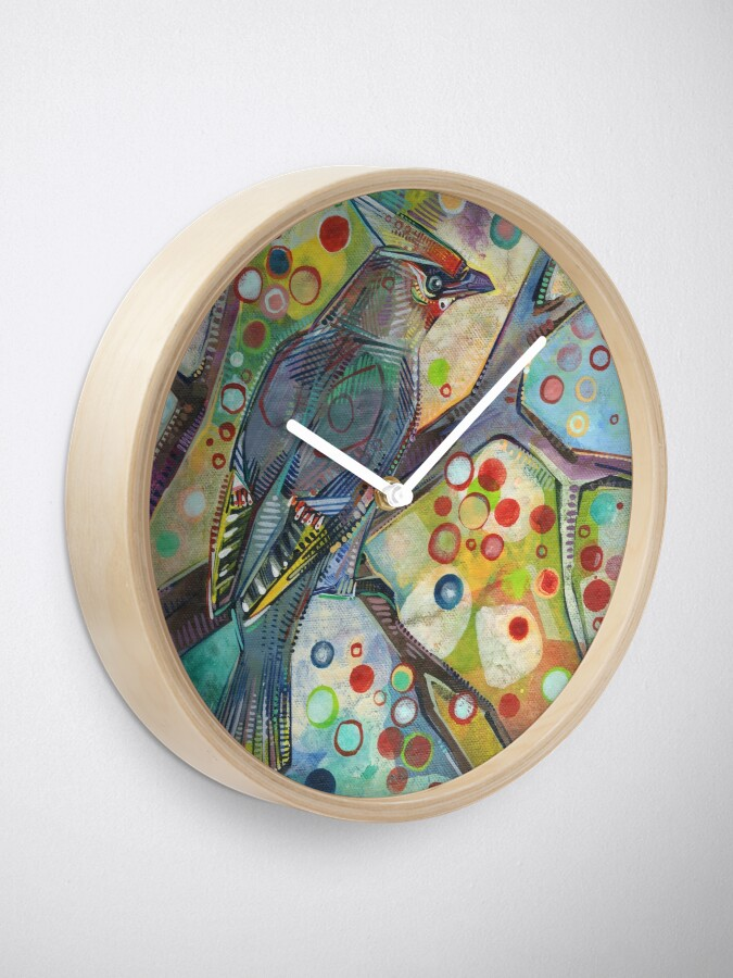 Alternate view of Bohemian waxwing painting - 2015 Clock
