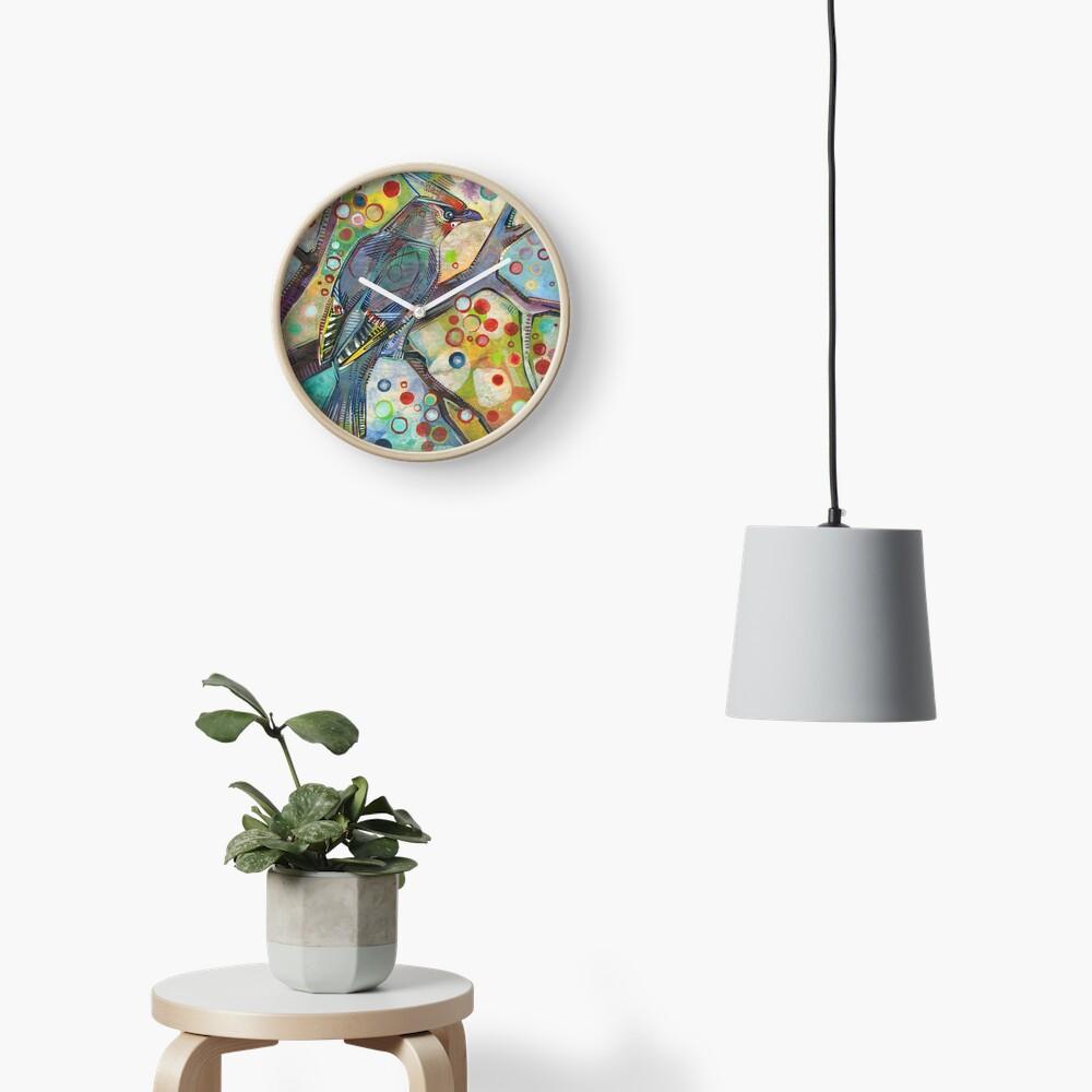 Bohemian waxwing painting - 2015 Clock