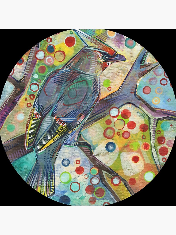 Bohemian waxwing painting - 2015 by gwennpaints
