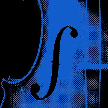 Halftone Blue Violin by wordznart