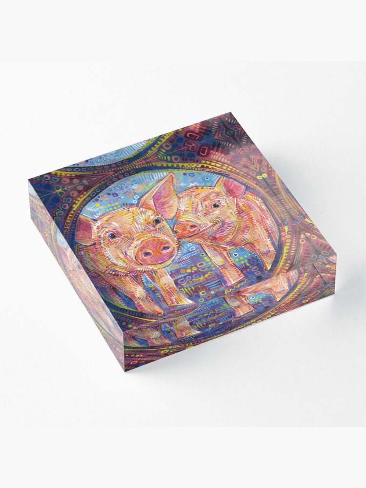 Alternate view of Piggles Painting - 2014 Acrylic Block