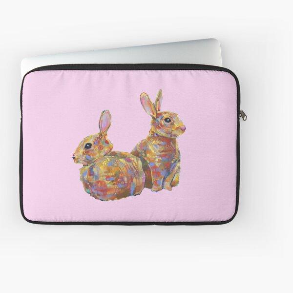 Common Rabbits on Blank Background Laptop Sleeve