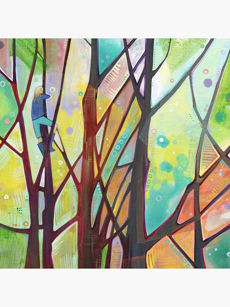 Girl climbing a tree painting - 2012 by gwennpaints