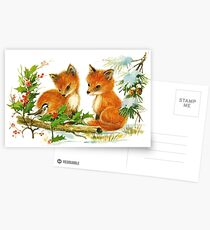 Darling Vintage Winter Foxes Postcards