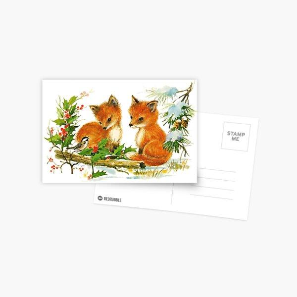 Darling Vintage Winter Foxes Postcard