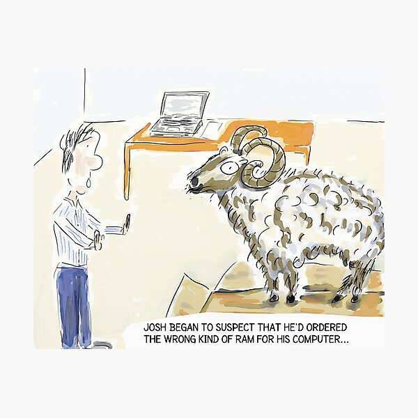 "Funny Tech Cartoon Humour: ""The Wrong Kind of Ram..."" Photographic Print"