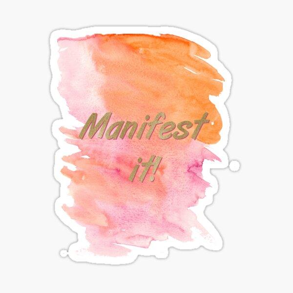 Motivational law of attraction manifestation statement - Manifest it! Gold Typography Sticker