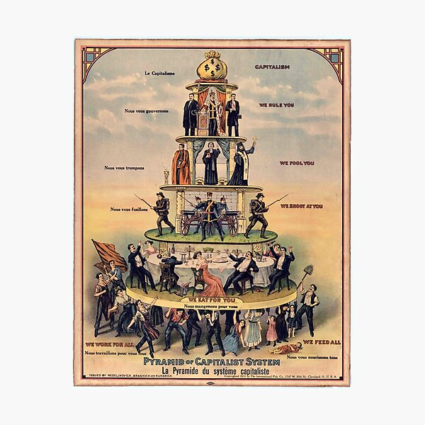 """Pyramid of Capitalist Systems"""" - Industrial Workers of the World, 1911, Anticapitalist Propaganda Poster Photographic Print"""