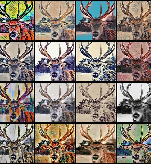 Stag Head Pop Art Pattern - Deer Antlers Abstract Design by Printpix
