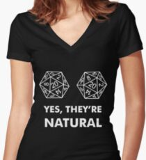 D20 Yes They're Natural Women's Fitted V-Neck T-Shirt