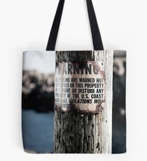 Lighthouse Keepers Warning Tote Bag