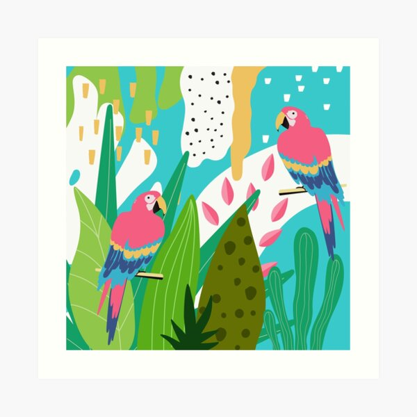 Tropical forest birds and flowers Art Print