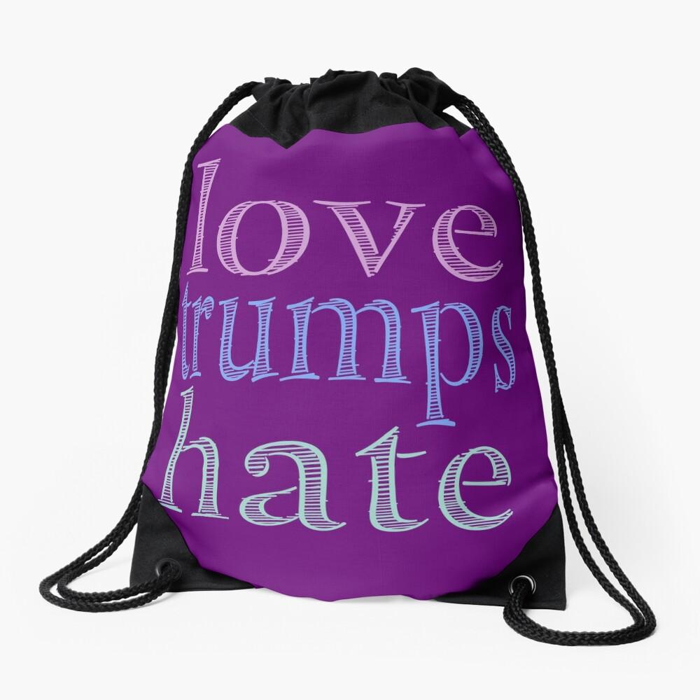 Love Trumps Hate Pretty Pastel Drawstring Bag