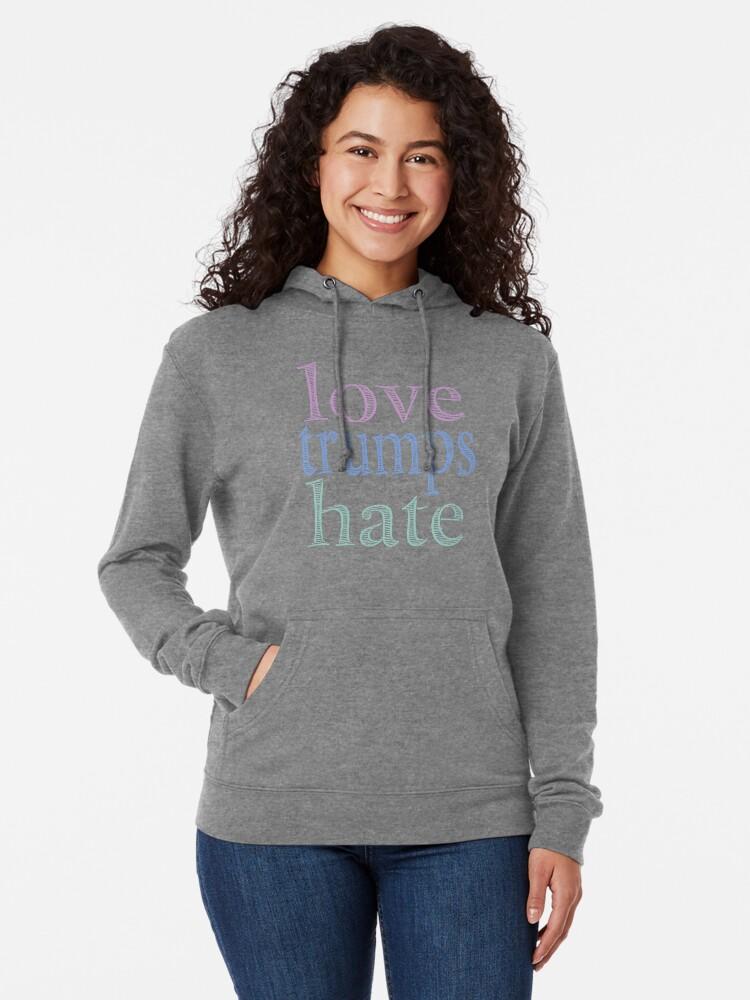 Alternate view of Love Trumps Hate Pretty Pastel Lightweight Hoodie